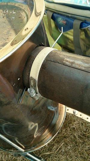 背面延長部と横引き巻き煙突の接合