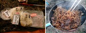 馬バラ肉(特売品)と肉かすのダブル肉焼そば