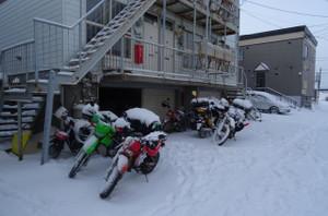 バイクに積雪